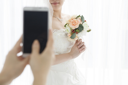 Women who are taking the bride photo
